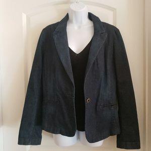 Loft One Button Denim Blazer Size 14